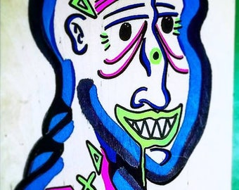 Party Monster (Paint Pen on Raw Wood)