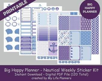 Nautical BIG Happy Planner Printable Stickers, Weekly Kit, Planner Kit, Planner Stickers, BIG Happy Planner, Instant PDF Download