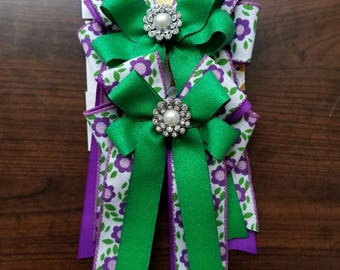 Purple & Green Flower Power Equestrian Show Bows (Grand Champion Size)