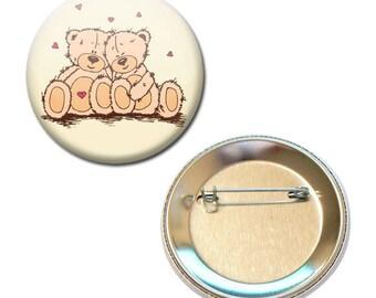 Badge 56 mm - Teddy bear plush Teddy Bears love Valentine heart