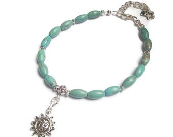 Anklet Turquoise Sun Boho Summer Jewelry Beach Jewelry A2