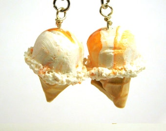 Orange Cream Ice Cream Cone Earrings, Miniature Food Jewelry, ice cream cone