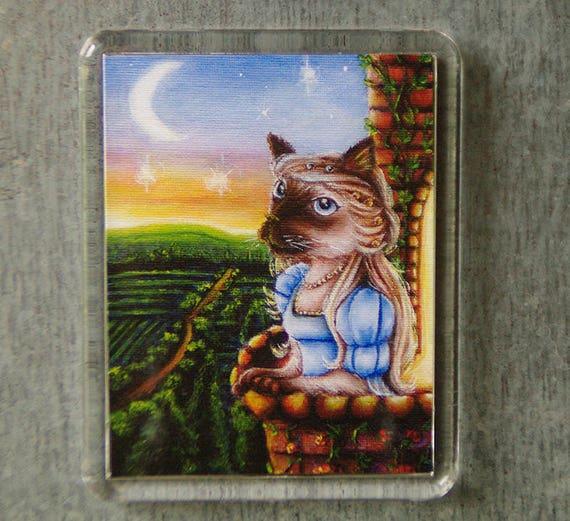 Juliet Cat Magnet, Shakespeare Romeo and Juliet, Siamese Cat Art Fridge Magnet