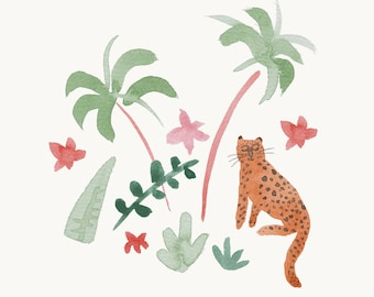 Calming Leopard Print, happy and serene watercolour paint print A5/A4
