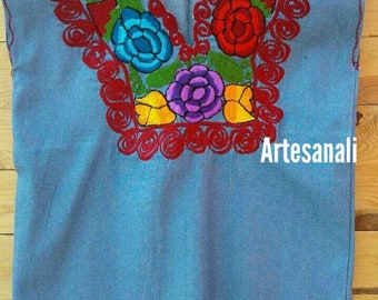 Mexican Embroidered Ligth Denim Blouse Size To Medium/