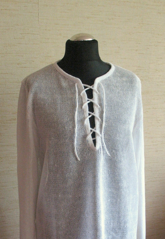 Man White Linen Shirt Top Sweater Clothing knitted summer d4qNzioYNE