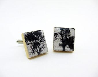 Handmade Cufflinks Cuff Links / summer trees / black white / using vintage Scrabble wood tiles