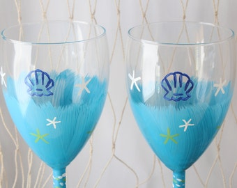 Calypso Blue Hand Painted Pair of 2 Wine Glasses with Shell accents