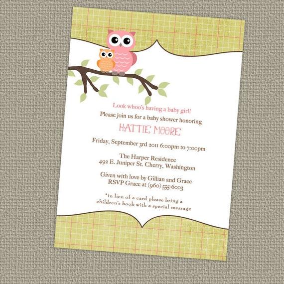 Owl Baby Shower Invitation Baby Girl Shower Invitation