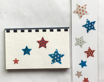 Handmade Blue and Red 'Patriot Stars' Blank Recipe book for Personal Recipes