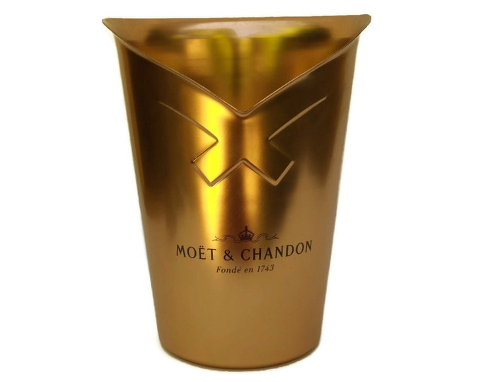 Moet & Chandon Champagne Cooler Ice Bucket with French Advertising. Vintage Copper Bar Decor and Gifts.