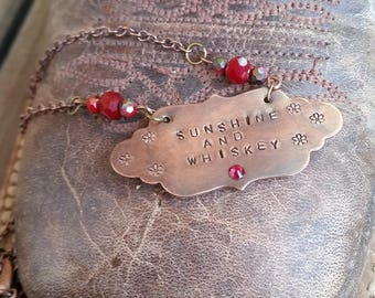Sunshine and whiskey copper stamped tag