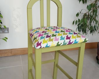 Eye popping STOOL - Art Deco Style with vivid fabric.  Reupholstered and painted in a fab green!