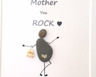 Pebble art-Mother gift, Mother/Mom/Mum you ROCK, birthday gift, mothers day gift, personalised gift, pebble art anniversary gift, mother art