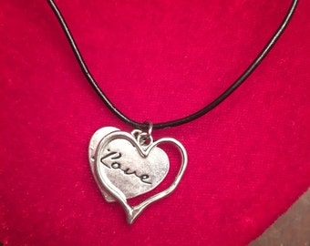 Double Love set - silver and black leather