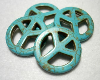 Blue Magnesite Peace Sign Flat Round 25mm Beads (Qty 4) - B3645