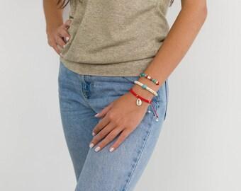 Set of 3 Bracelets, Boho Bracelets, Stacking Bracelets, Gemstone Bracelets, Shell Bracelets, Colourful Bracelets, Coral Bracelets, Summer