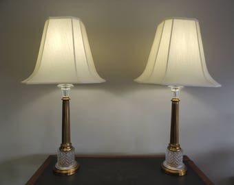 2 Paul Hanson Vintage Hollywood Regency Table Lamps Brass Columns w/ Glass