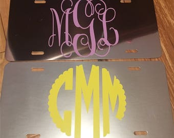 Mirrored Monogram License Plate