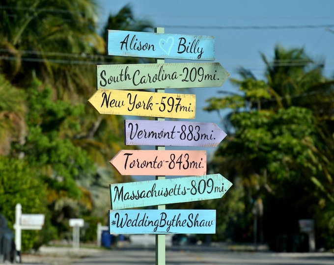 Rustic Directional Beach Sign, Wedding Ceremony Decoration, Wood Signage for Wedding gift idea, Event signs, Party signage