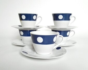 Blue and White 1960s Modern Tea Cups or Coffee Cups and Saucers - Vintage Polka Dot Serving Pieces by Seltmann Weiden - 5 Cups and Saucers
