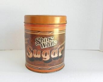 Shabby SHINE WHITE Brand Sugar Tin Canister