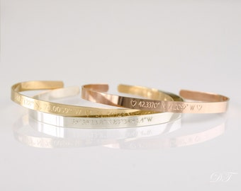 Delicate custom coordinates bracelet, Custom Coordinates Cuff Personalized Latitude Longitude Jewelry GPS Coordinates Jewelry sister jewelry