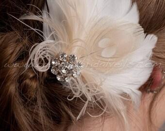 Hair Feather Fascinator, Ivory or Diamond White with Champagne Peacock Eye, Bridal Hair Birdcage Fascinator, Rhinestone Center - Justa