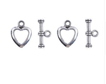 Traditional Heart Toggles for Necklaces & Bracelets (Set of 5)