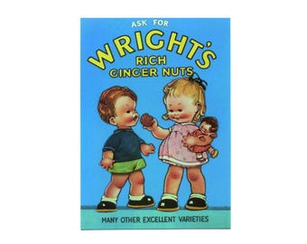 Ask for wright's rich ginger nuts vintage style metal advertising wall plaque sign or framed picture frame