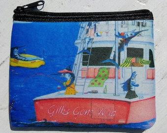 Gills Gone Wild humorous ladies fishing art Coin Purse zippered pouch neoprene