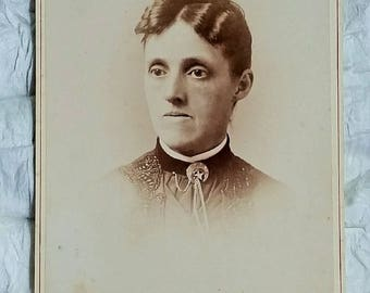 Antique Cabinet Card, Stern Victorian Woman, Downton Abbey, Johnstown PA
