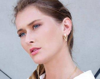Triangle Ear Jackets, Jackets Earrings, Fashion Earrings, Front Back Earrings, Double Sided Stud Earrings, Gold Double Back Earrings, Gifts