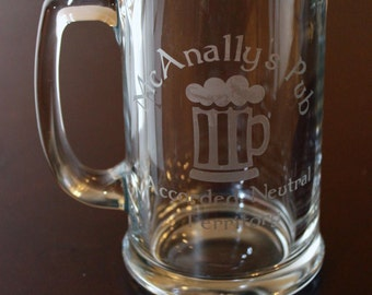 Dresden Files McAnally's Pub Accorded Neutral Territory Glass Beer Mug- custom designs available for any sort of geekery!