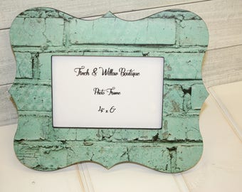 Seafoam frame, Decoupaged brick, Painted brick Picture frame, 4 x 6 Photo frame, Seafoam green