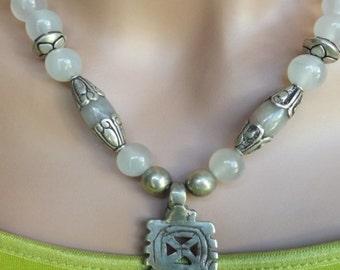 Moonstone and Ethiopian Coptic Cross Necklace