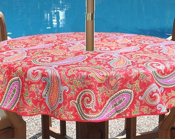 "Round 42 - 63 inches  Coated Tablecloth Pashmina in Red -  or custom made your size up to 115"" Waterproof tablecloth Umbrella hole available"
