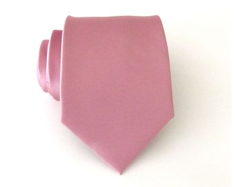 Mens Tie With *FREE* Matching Pocket Square. Dusty Rose Tie Pocket Square Set