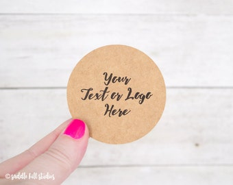 "Custom Stickers - Custom Labels - 2.5"" Circle Stickers - Set of 18 - Personalized Labels - Kraft Stickers - S0107-4"