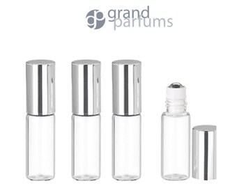 24 Upscale Slim 3ml Clear Glass Roll-on Roller Perfume Bottles STAINLESS STEEL Ball Fitment Shiny Silver Cap Essential Oil, Lip Gloss, 3 ml