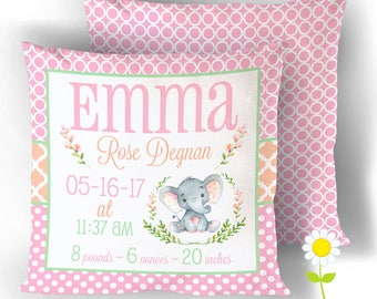 Elephant Birth Stats Pillow Cover - Personalized Birth Announcement Throw Pillow - Custom Baby Name Cushion Cover - Safari Nursery Decor