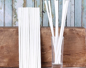 "8"" White Paper Lollipop Sticks, Cookie Pop Sticks, Long Cake Pop Sticks, Long Lolly Sticks, Rice Crispy Pop Sticks, Thick Lollipop Sticks"