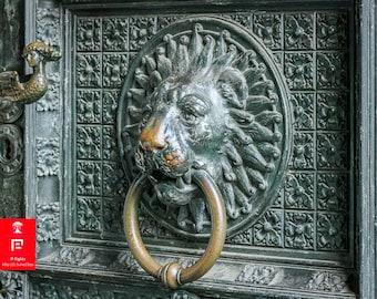 lion wall print | door knocker art | lions head | door knocker photography | lion door knocker art | germany wall art prints | wandering