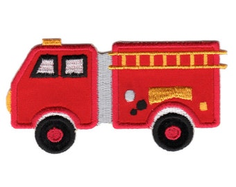 Fire Truck Iron-On Patch Applique - Kids / Baby