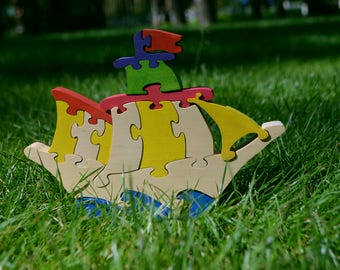 Wooden puzzle Ship, Handmade Eco Friendly Toy, For Toddlers, Logic toys, Wooden toy, Natural, Organic and Safe toy