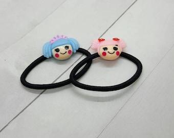 Cute doll ponytail holder, hair tie, hair elastic (PH012)