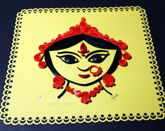 Indian Goddess Durga  Paper Quilling Wall Art , Divine Mother, Durga Puja Gift, Indian festival gift Made to order