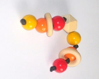 Rattle Teether, sensory gripping raw and colorful wooden beads