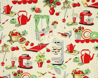 Michael Miller - Fifties Kitchen- Retro 50's Kitchen Appliances on Cream- Novelty Fabric-Choose Your Cut