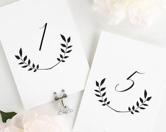 "Wreath Monogram Table Numbers - 4x6"""